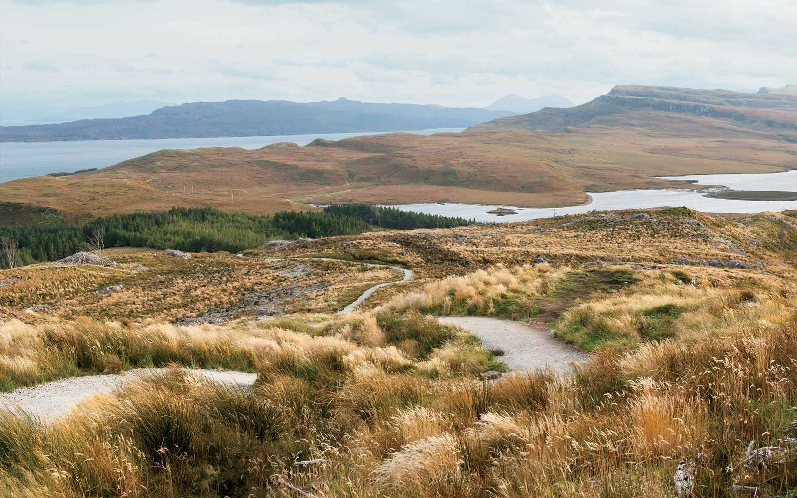 Pathway descending down from the Old Man Of Storr, a rocky hill on the Trotternish peninsula of the Isle of Skye in Scotland.