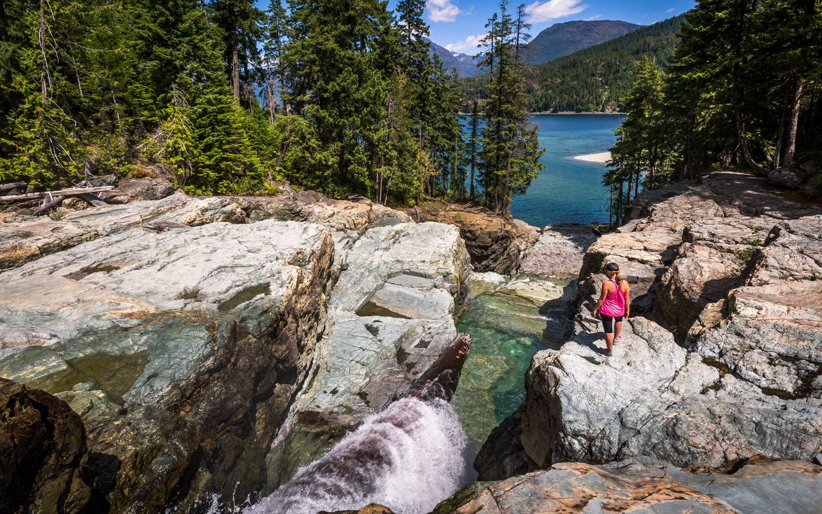 Young woman exploring Strathcona provincial park on Vancouver Island