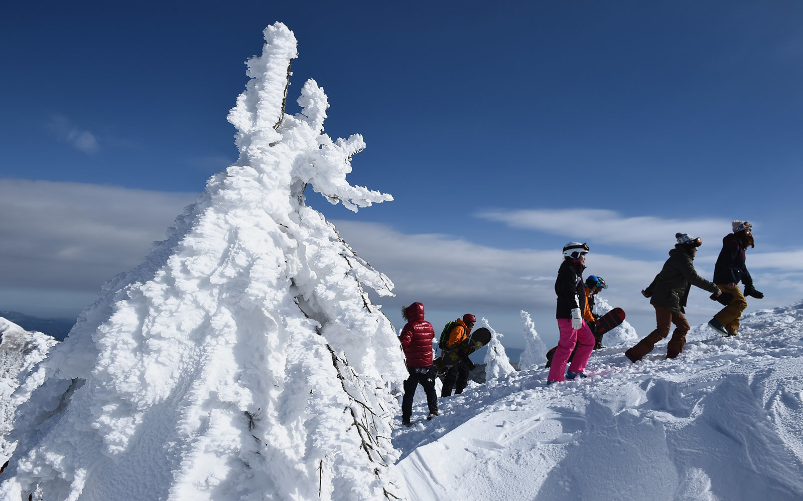 Snow monsters come to life every winter in Japan to keep skiers company on the slopes