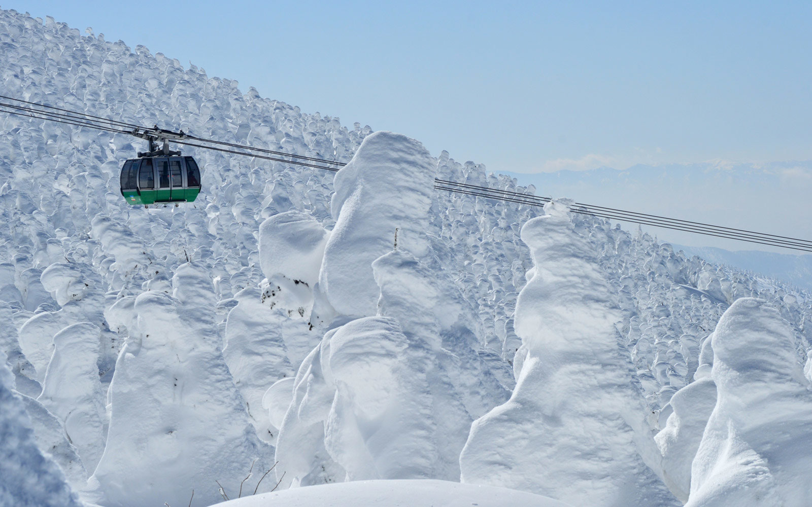 Ski tram and snow monsters in Zao, Japan