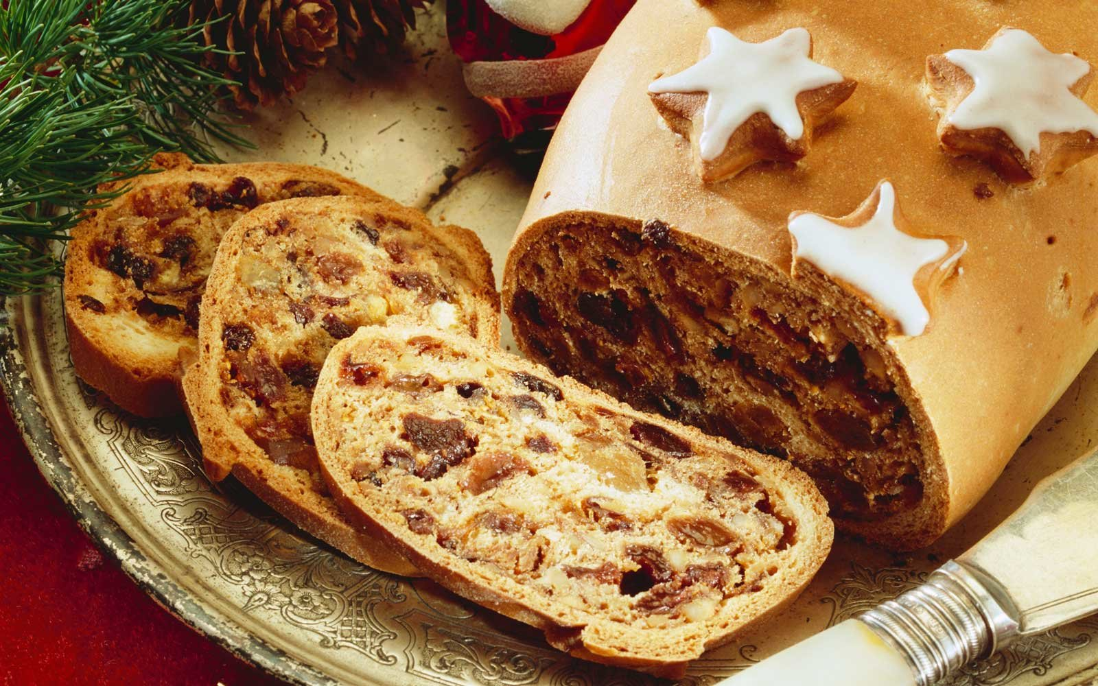 Kletzenbrot is a spicy and sweet bread made with a variety of spices and dried fruits like plums.