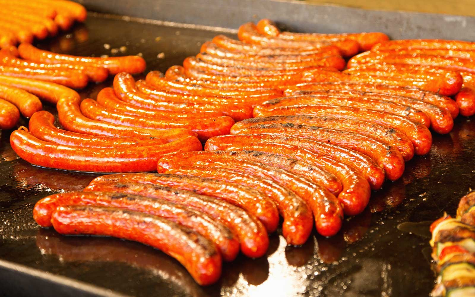 Christmas markets in locations like Budapest are filled with a variety of Hungarian sausages to taste.