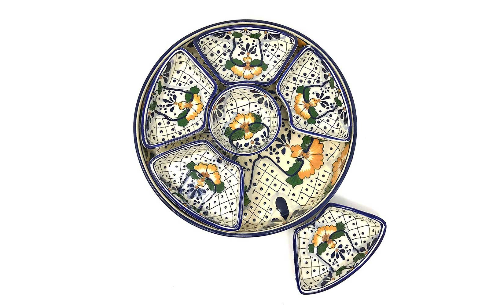 Gifts to get on Amazon Mexican Talavera Ceramic Taco Platter with Six Nesting Salsa Bowls