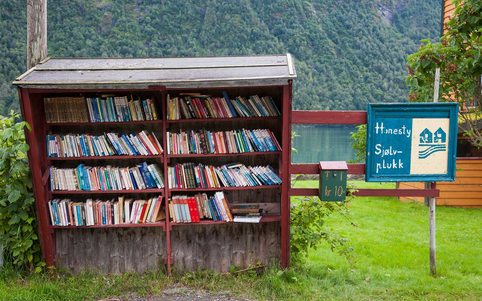 Books at a bus stop in Norway