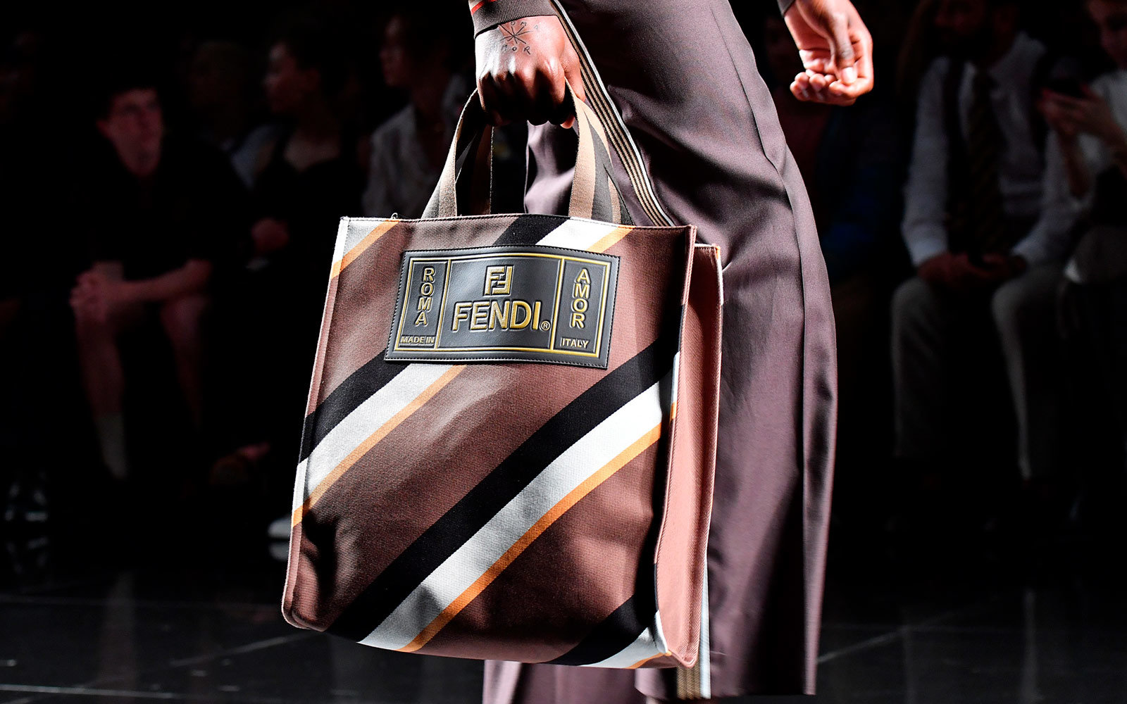 Fendi Brown Striped Canvas Tote