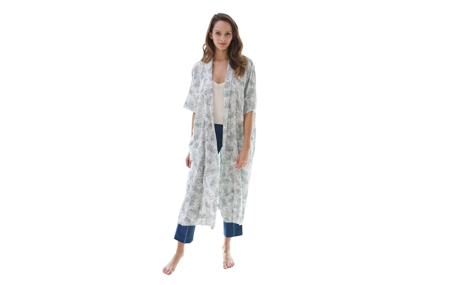 Mirth Laos Long Robe in Peacock Print