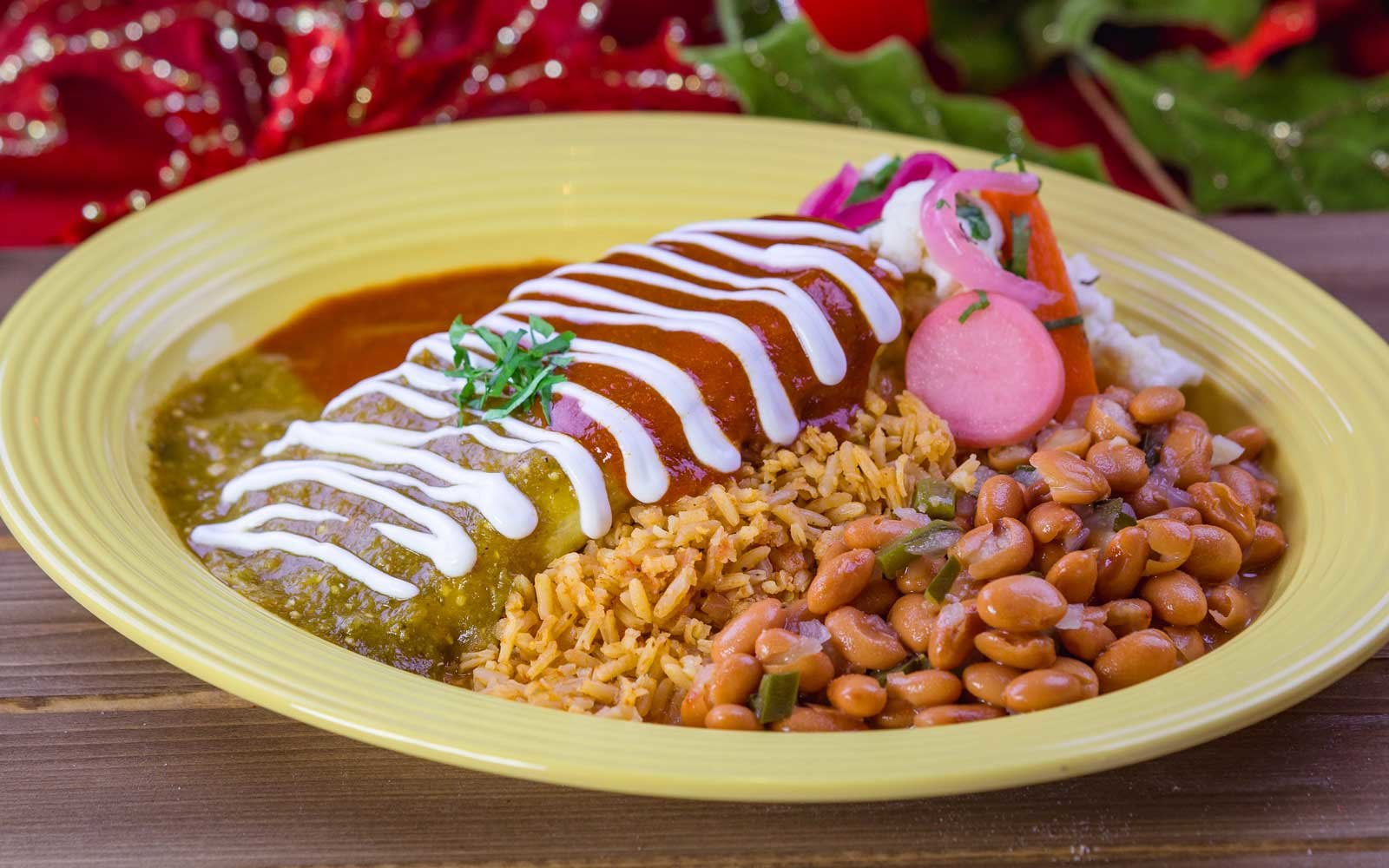 Red and green sauce on enchiladas at Disney