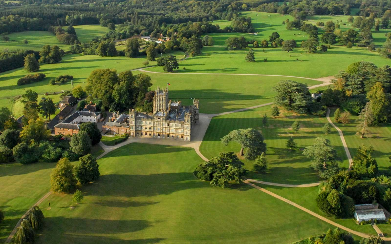 Aerial photograph of Highclere Castle, the offical residence of the Earl of Carnarvon on April 07, 2015.
