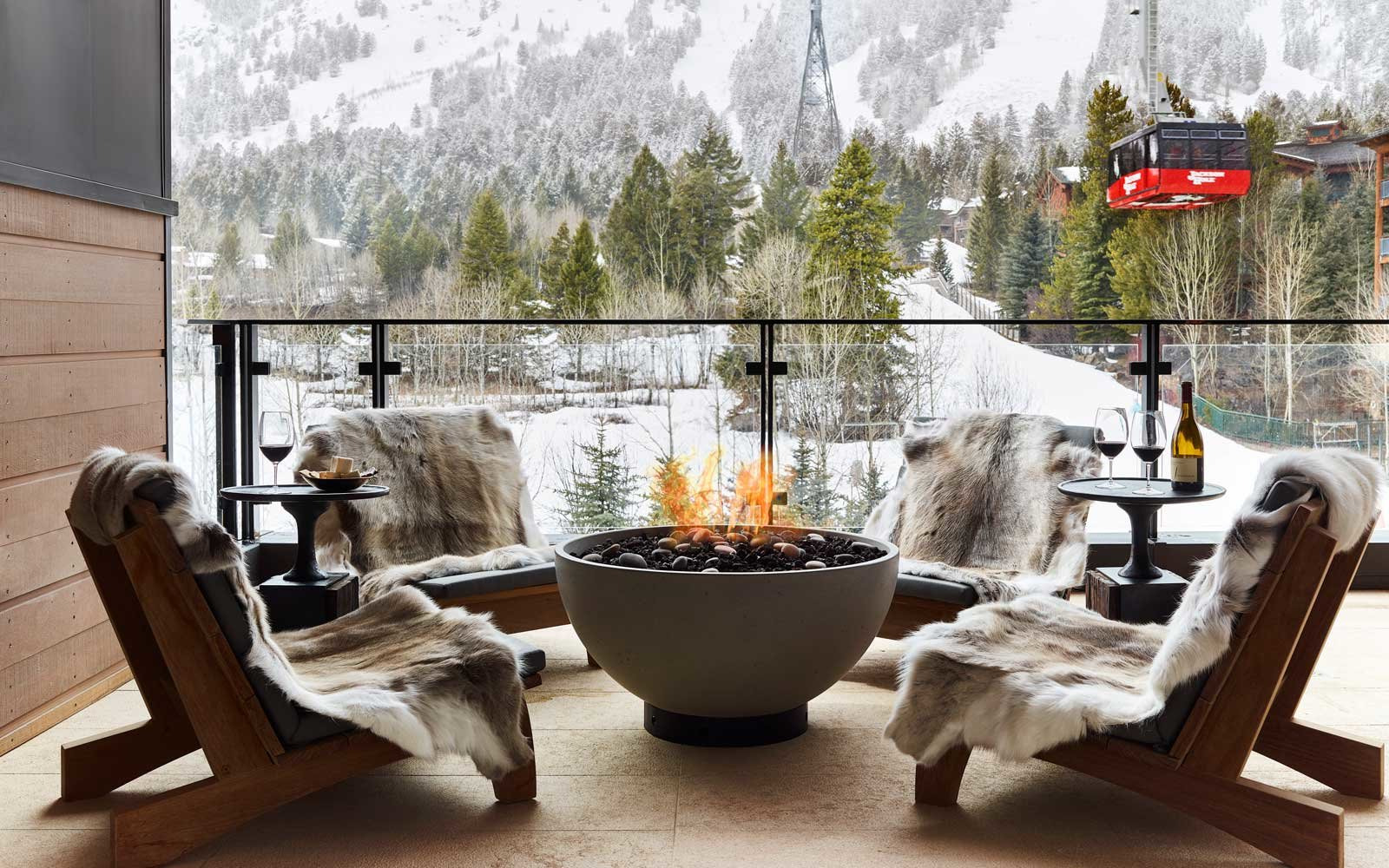 Terrace at the Caldera House Hotel in Jackson, Wyoming