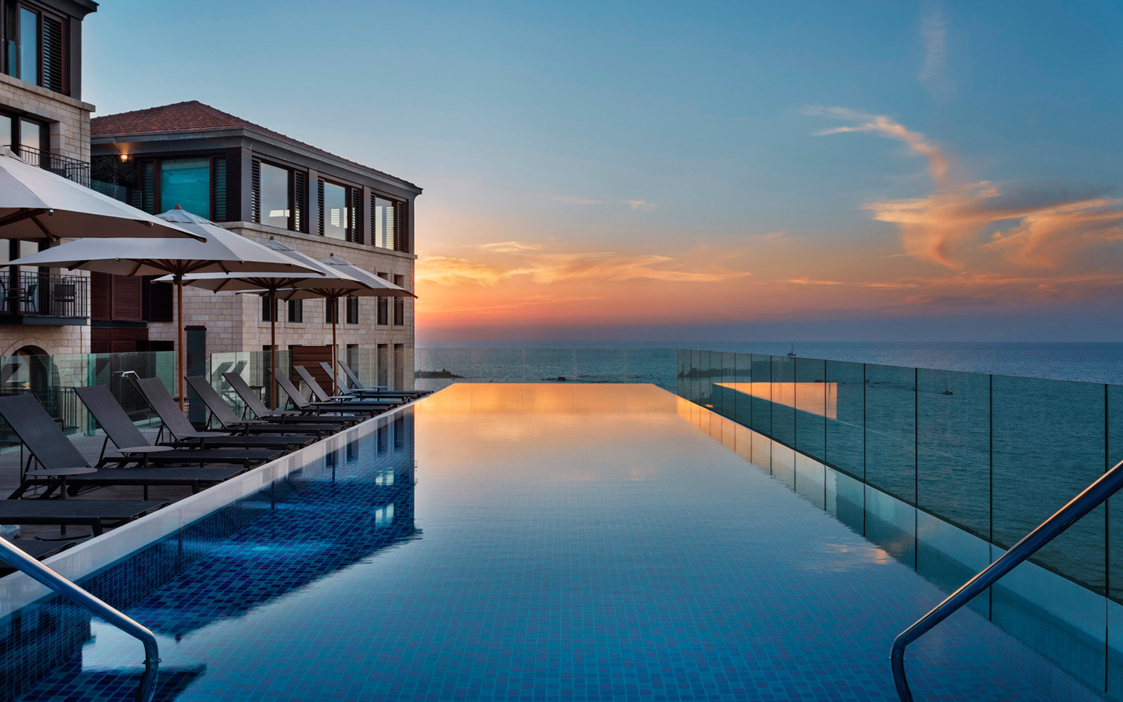 Sunset at the Swimming Pool at The Setai Tel Aviv