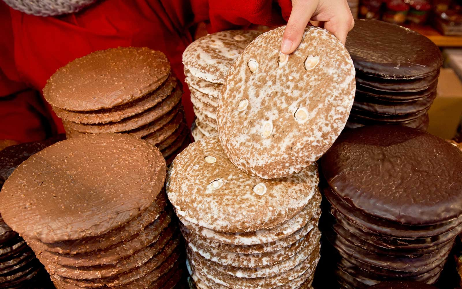 Nuremberg is noted for its gingerbread, which is made with natural honey, almonds, cinnamon, and spices.