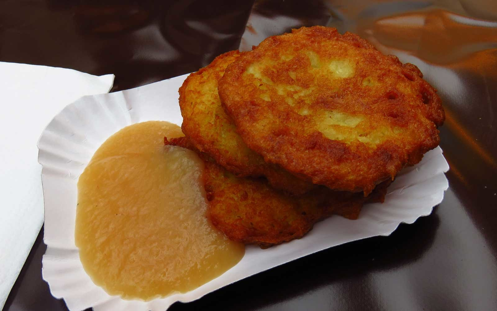 These German potato fritters are a crunchy and salty snack to enjoy and are often served with a side of applesauce.