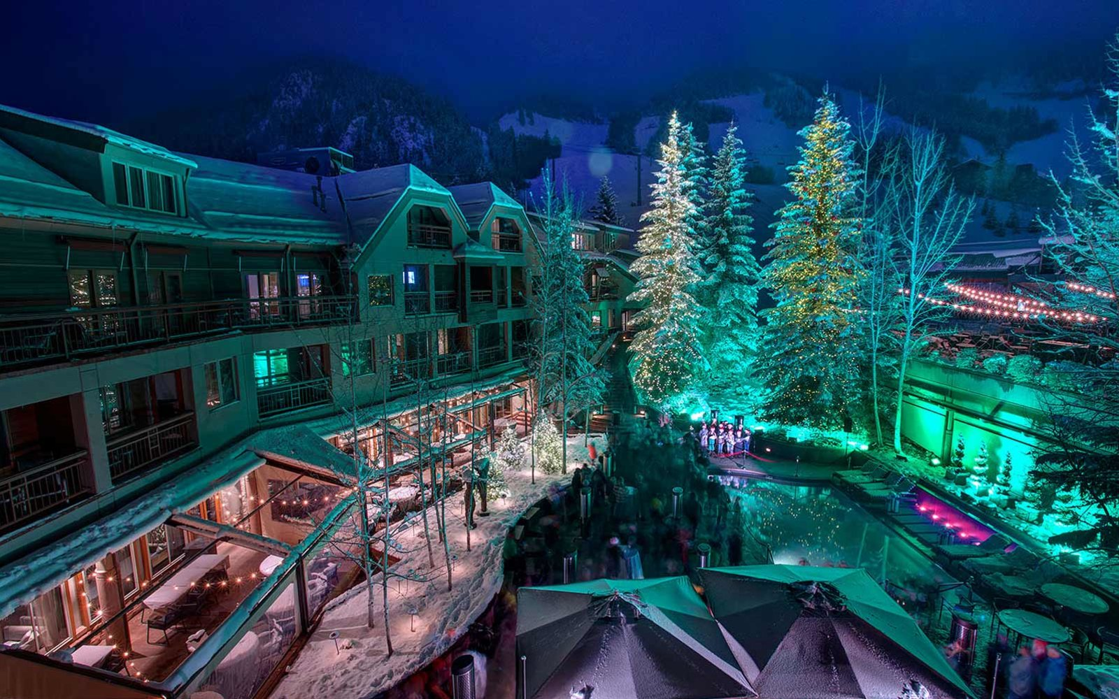 Little Nell, in Aspen, Colorado at night