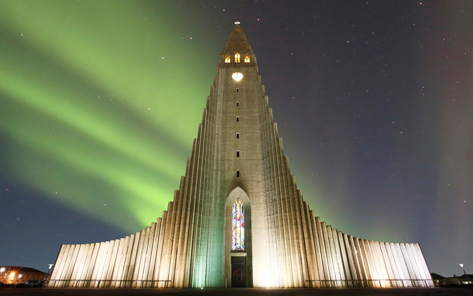 Iceland. Reykjavik. Cathedral under an aurora borealis (Northern Lights)