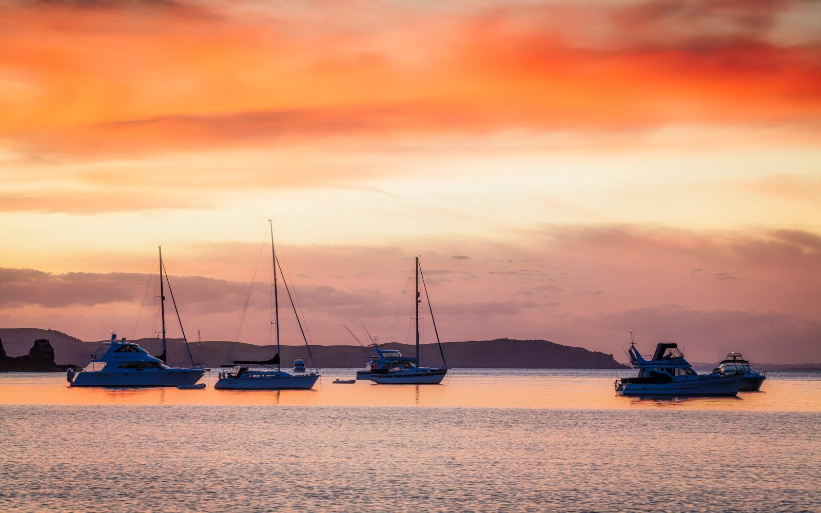 Moored boats at Owhanake Bay, Waiheke Island< New Zealand