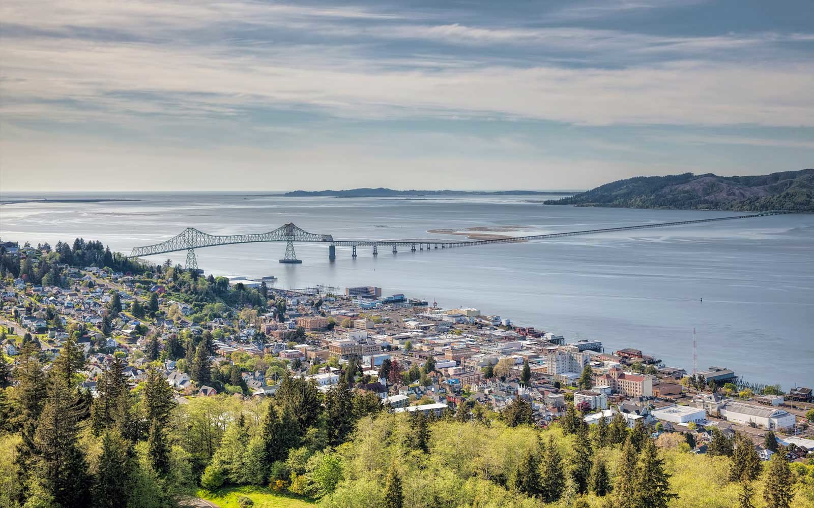 Astoria, Oregon cityscape with view of Astoria-Megler Bridge