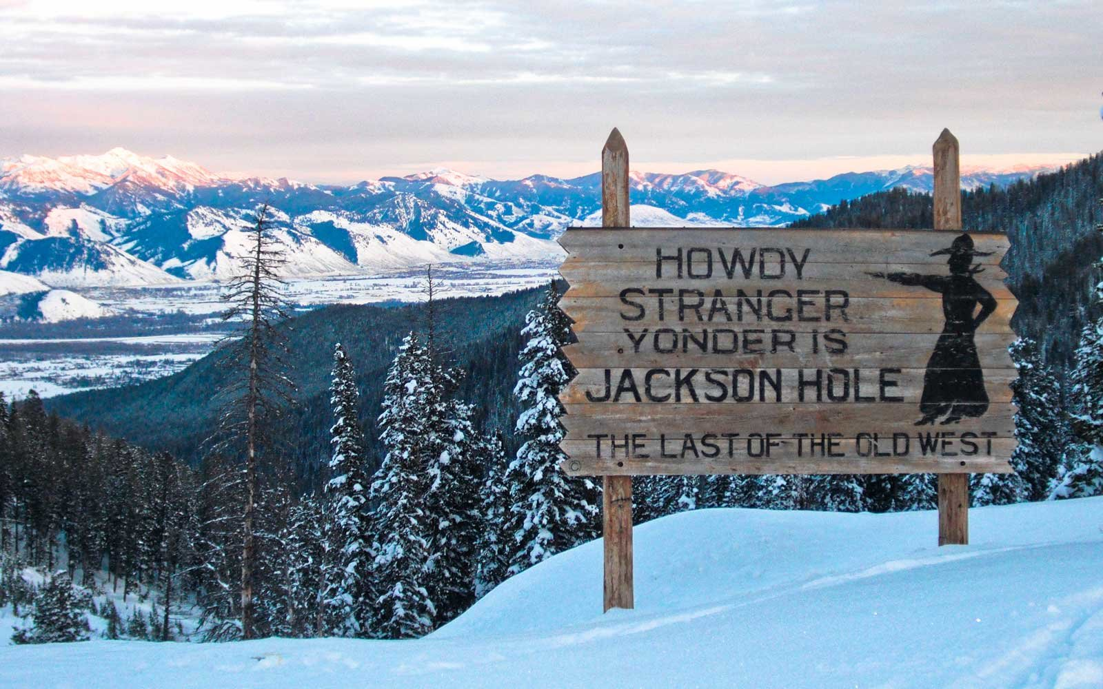 Welcome sign for Jackson Hole, Wyoming, in winter