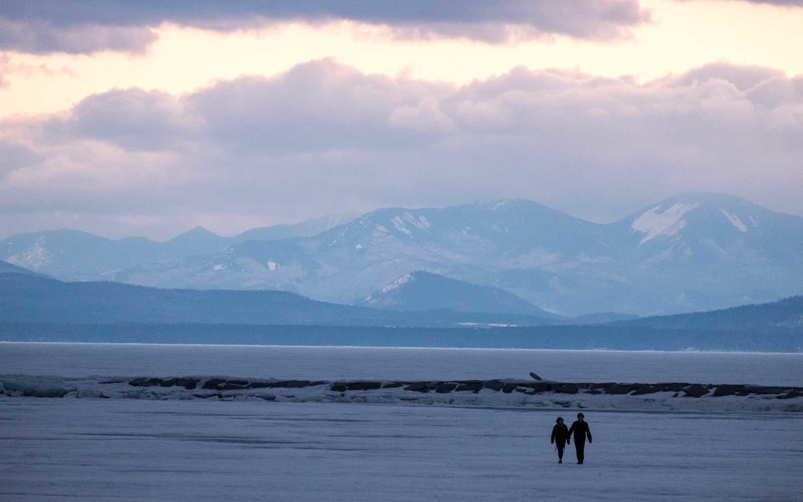 Walking on frozen Lake Champlain in Burlington, Vermont