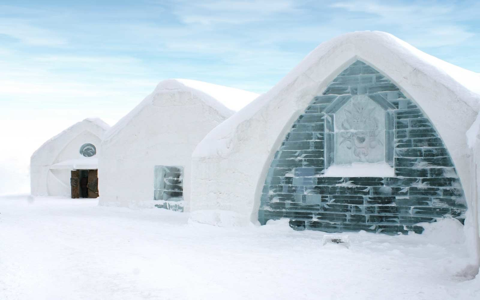 Windows of Ice Hotel in Quebec, Canada.