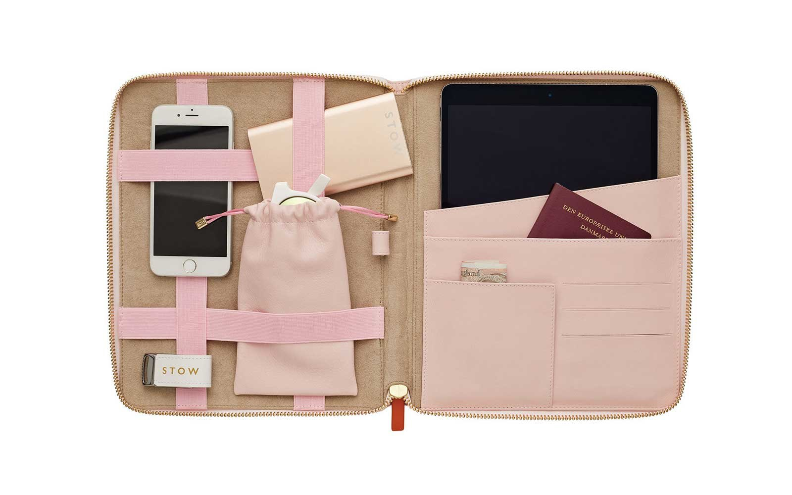 Stow Spring Pink Universal Leather Tech Case