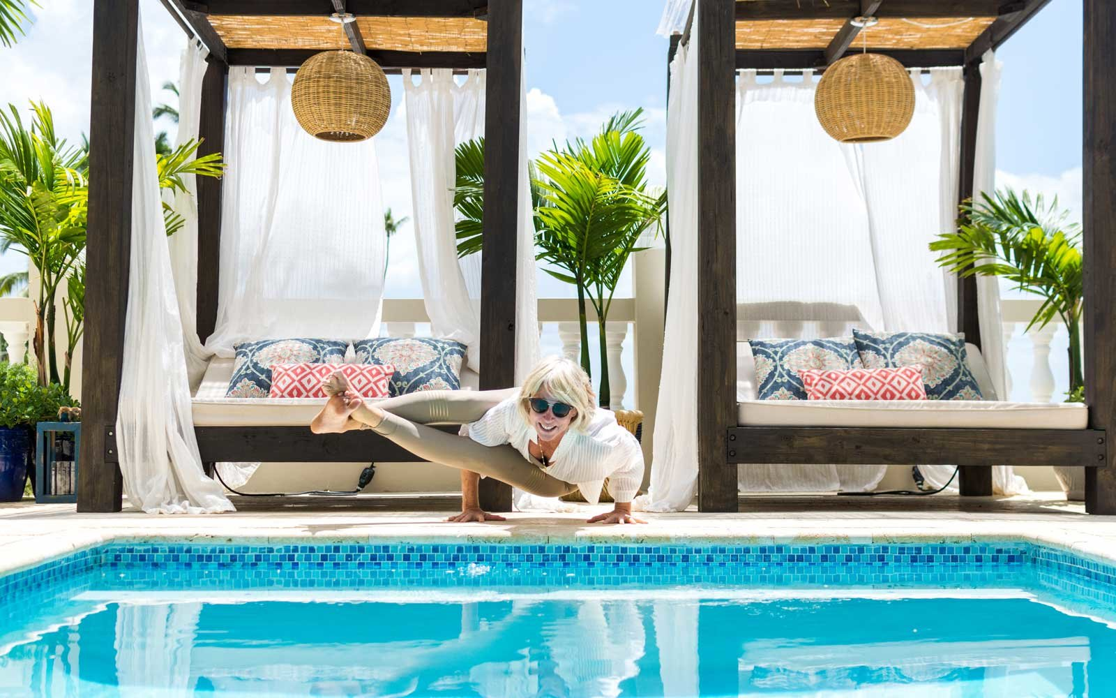 Yoga by the pool at Tres Sirenas hotel in Puerto Rico
