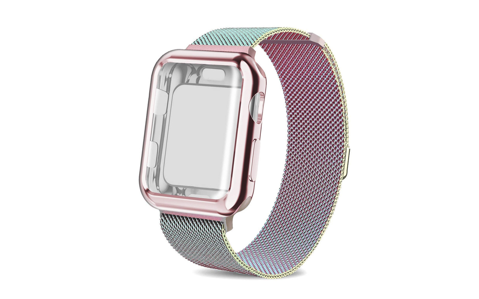 AdMaster Stainless Steel Mesh Apple Watch Band with Cover Case