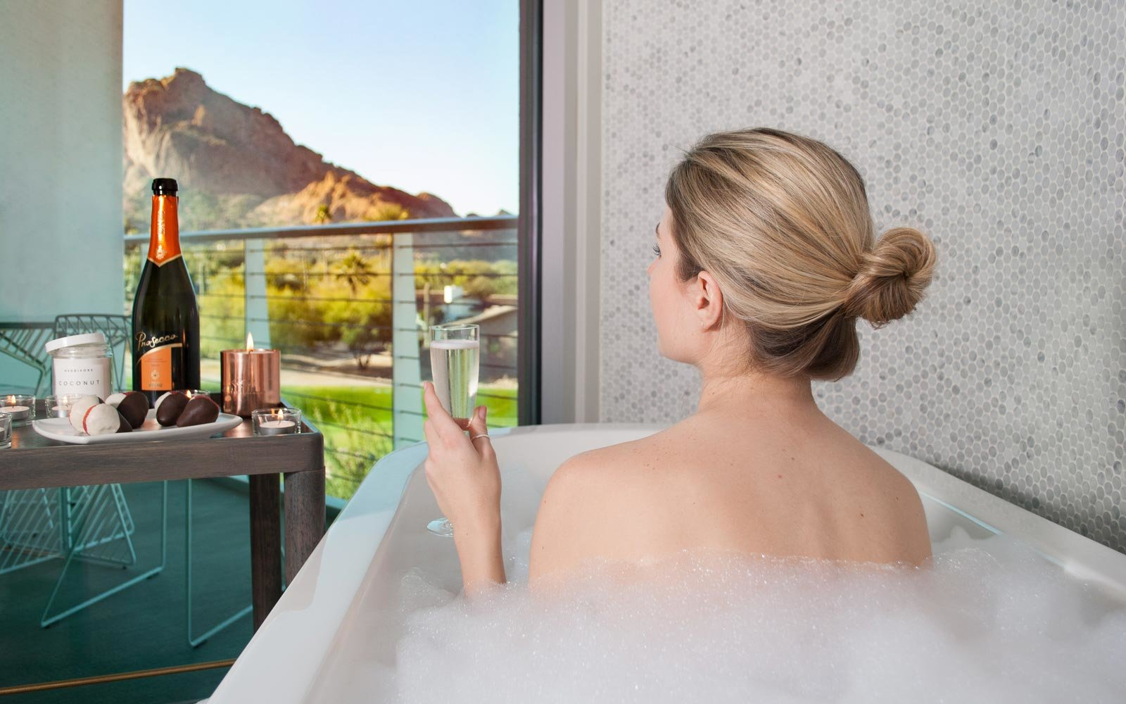 View from the bathtub at the Mountain Shadows resort in Arizona