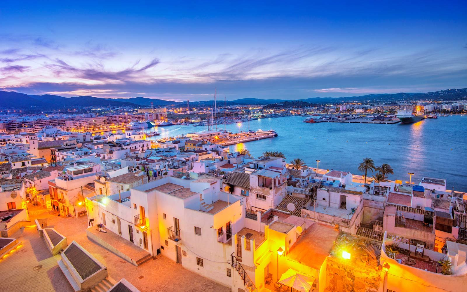 Ibiza Old Town and Harbour at dusk
