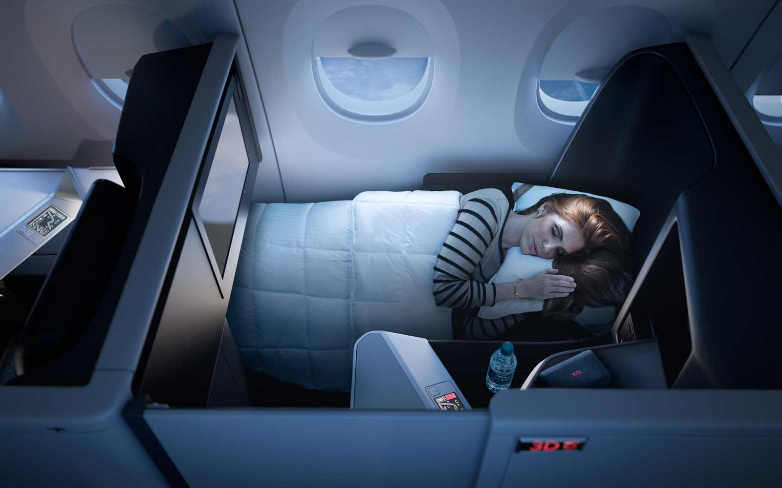 Bed on board Delta Airlines, in the Delta One suite class cabin