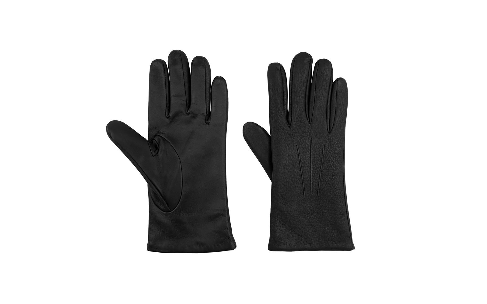 Leather touchscreen winter gloves