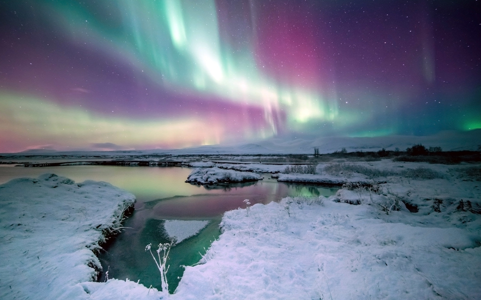 Northern Lights at the Thingvellir National Park in Iceland