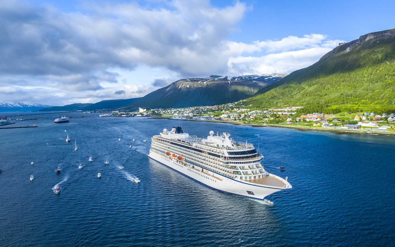 Viking Sky cruise ship in Tromso Norway on its Northern Lights itinerary