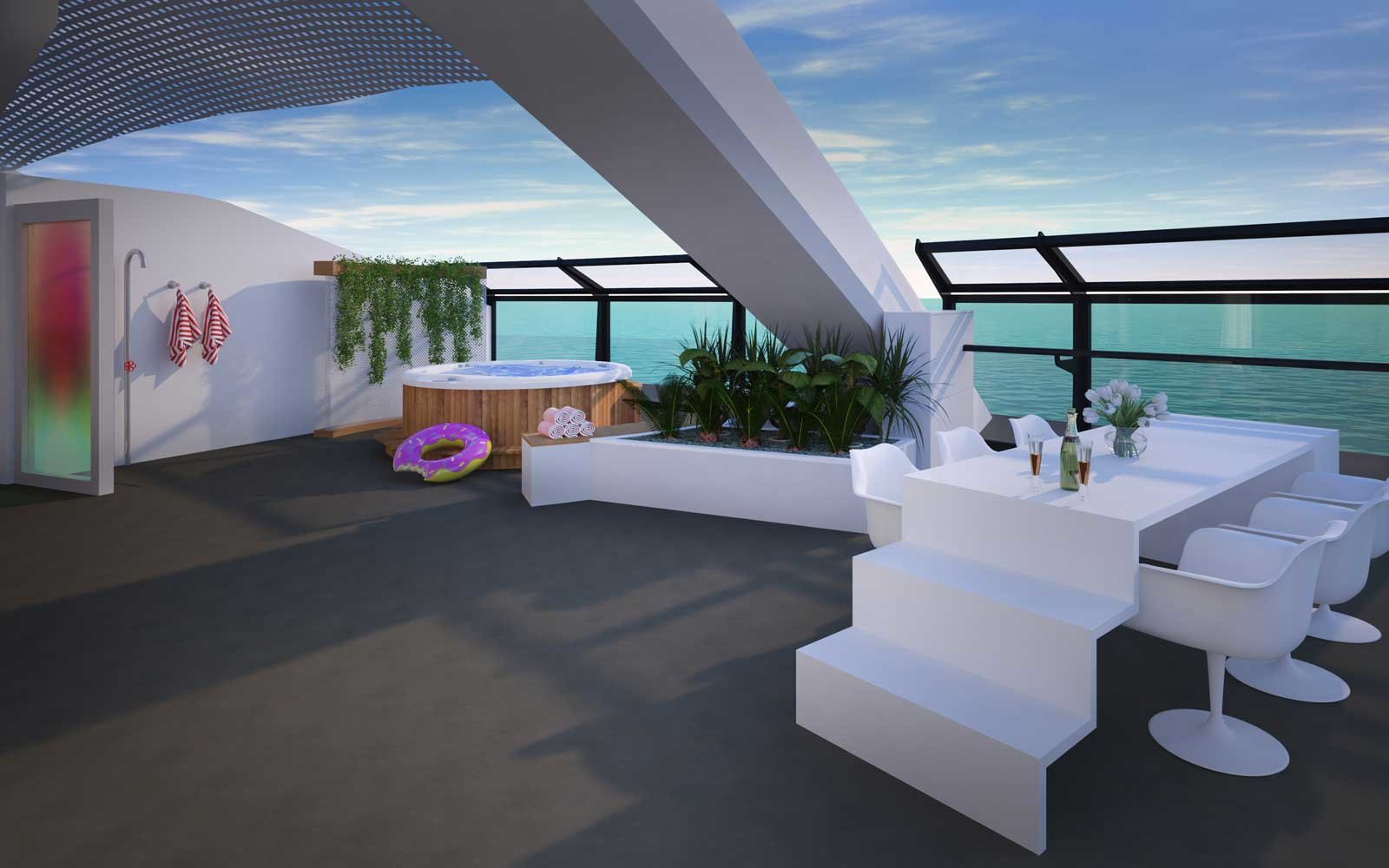 Massive Suite Terrace on board Virgin Cruises Scarlet Lady Ship