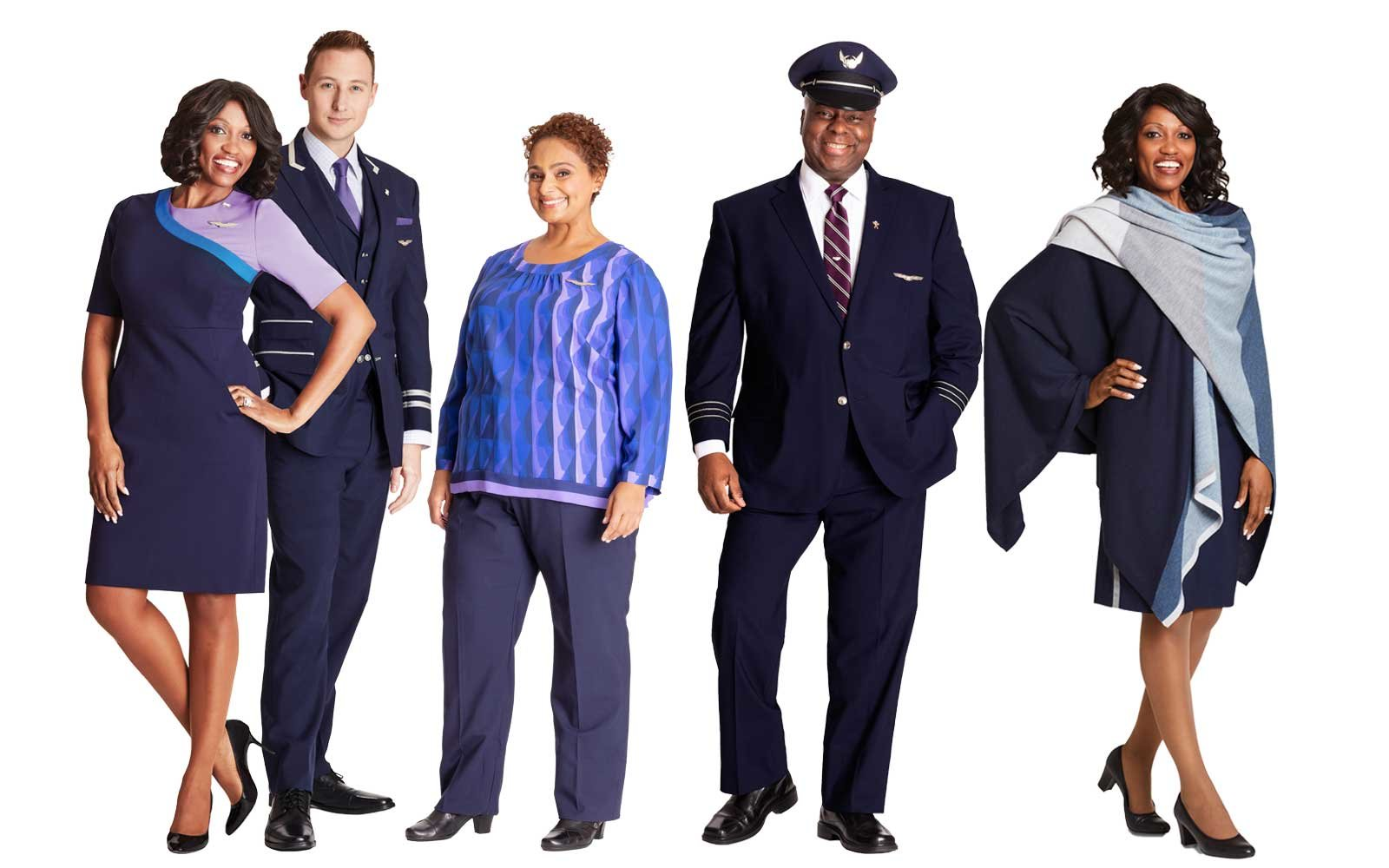 6bff05dce29 United Has New Uniforms — and There's a Reason Airlines Are Dressing Their  Employees in Purple | Travel + Leisure
