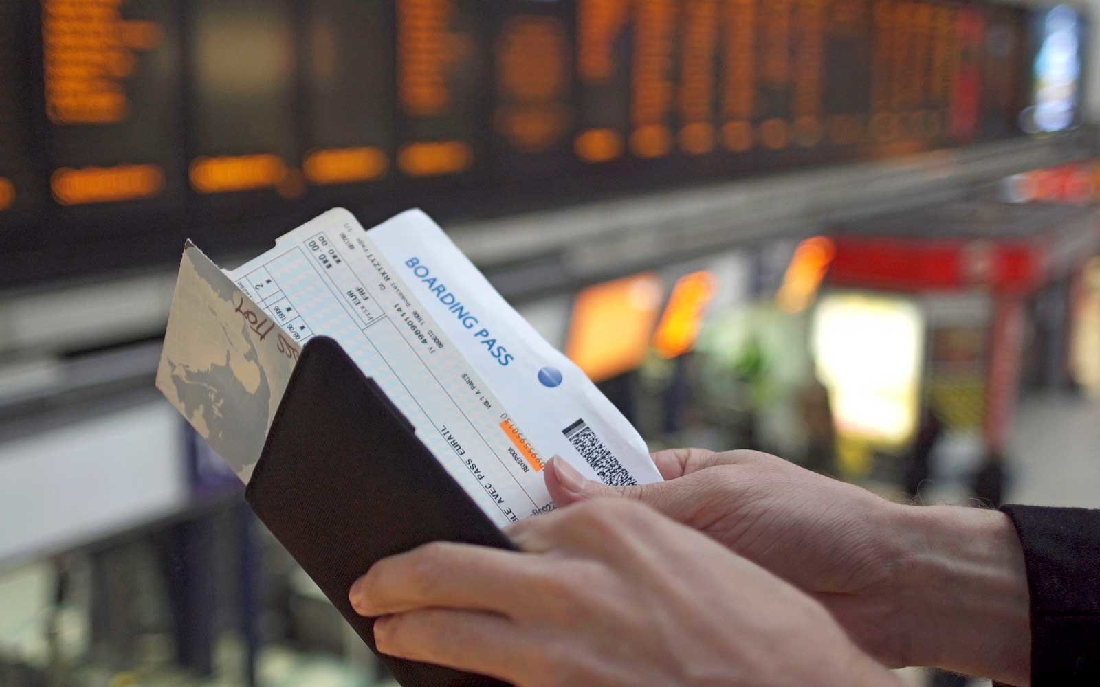 Travel documents and boarding pass