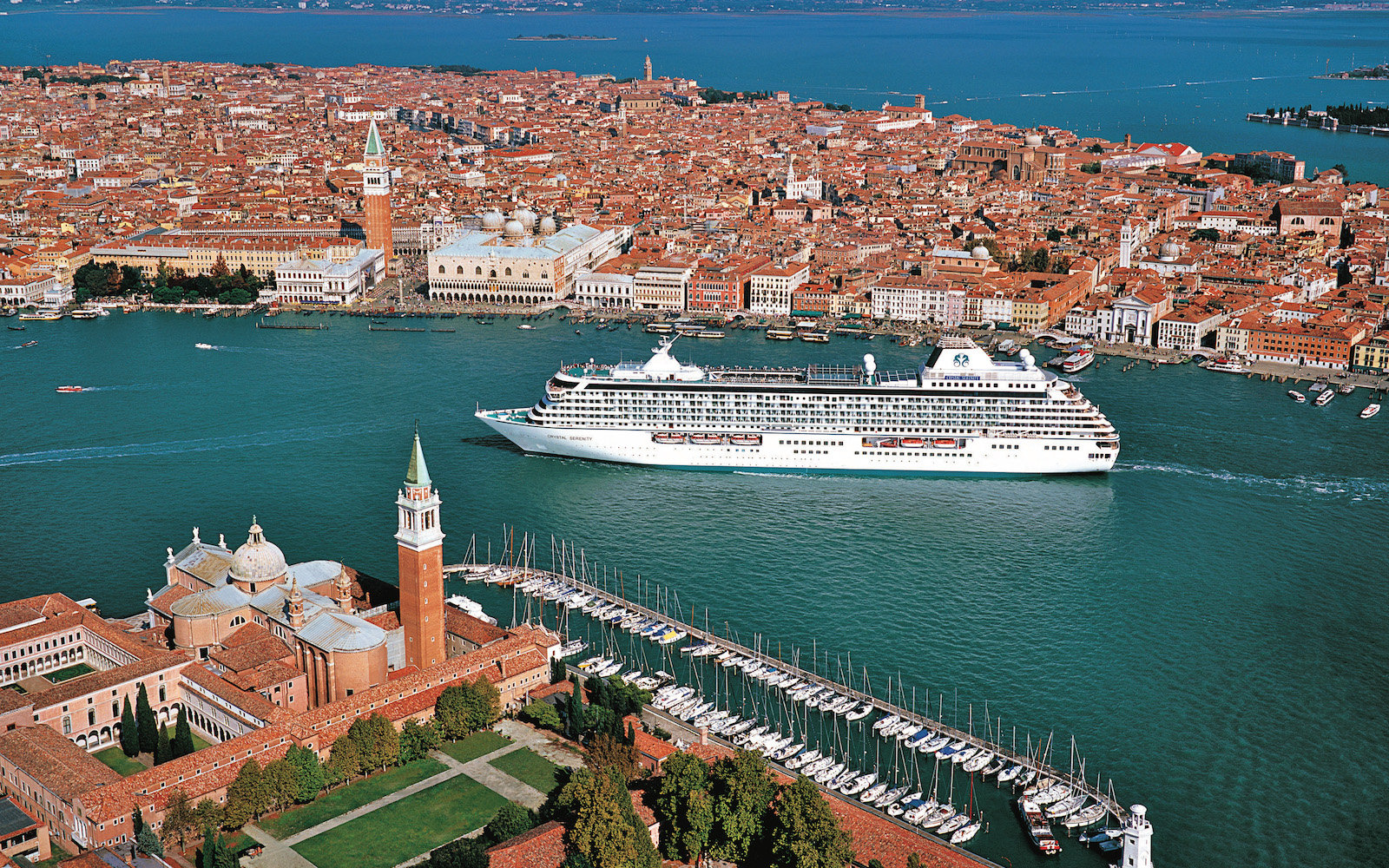 Crystal Cruises Serenity ship in Venice, Italy