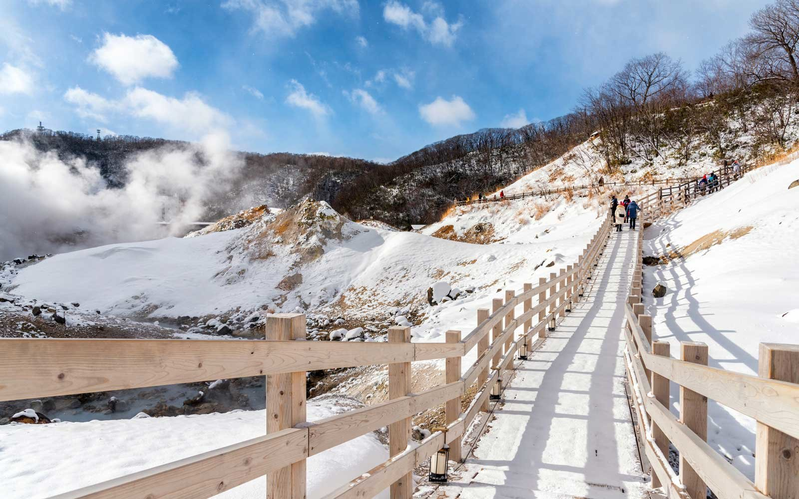 Hell Valley at Noboribetsu Onsen town, hot steam vents, sulfurous streams and other volcanic activity, hot spring waters, Hokkaido, Japan.