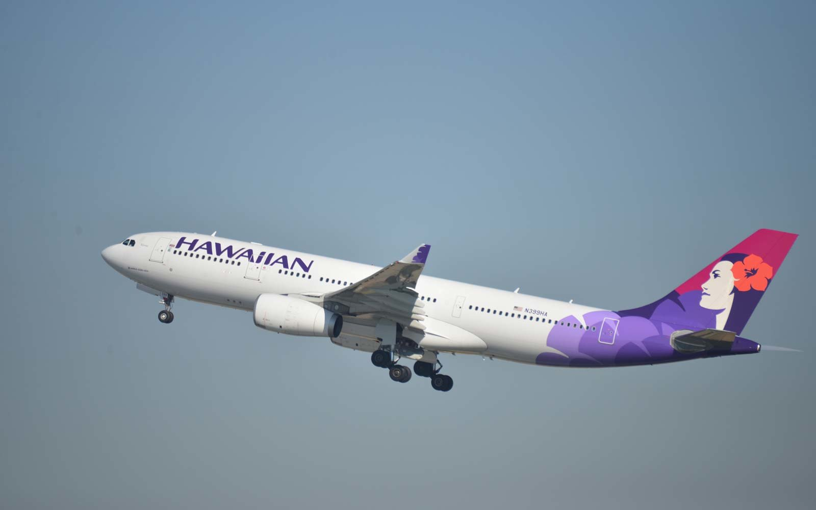 Hawaiian Airlines Airbus A330-200 (registration N399HA) is taking off from San Diego International Airport