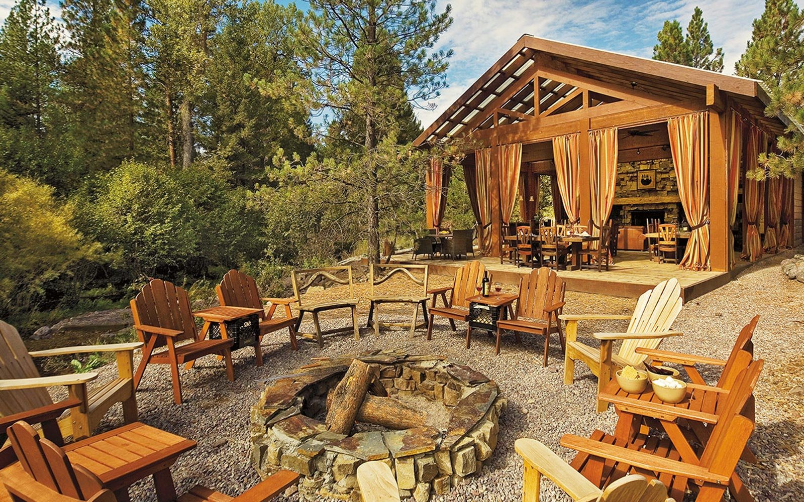 Fire pit at Paws Up Resort