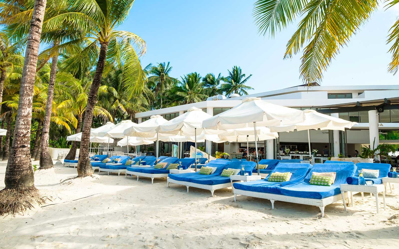 Beach lounge chairs at Discovery Shores Boracay