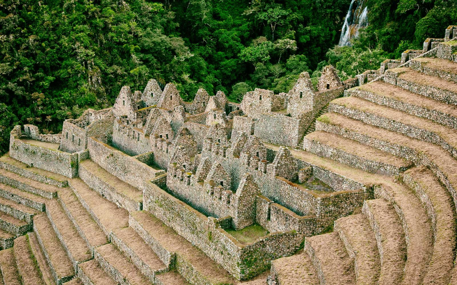 Ruins of an ancient town on the Inca Trail to Machu Picchu, Peru