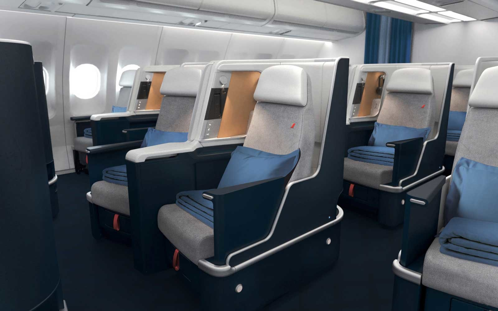 A photo of the business seats onboard the A330 with Air France.