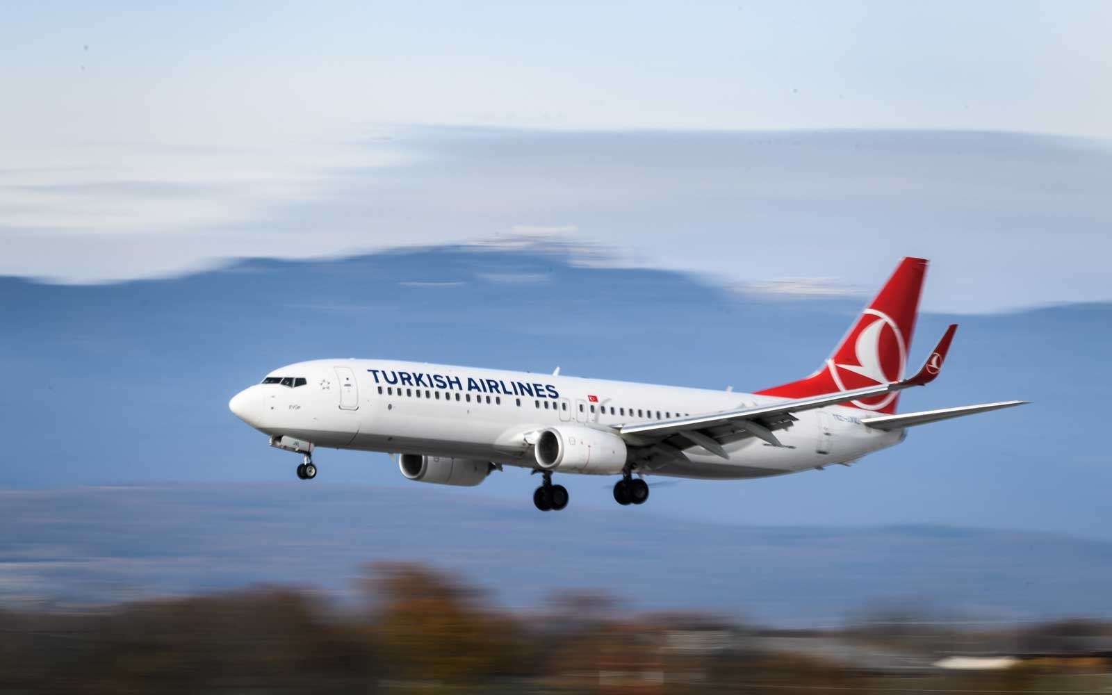 Turkish Airlines plane landing