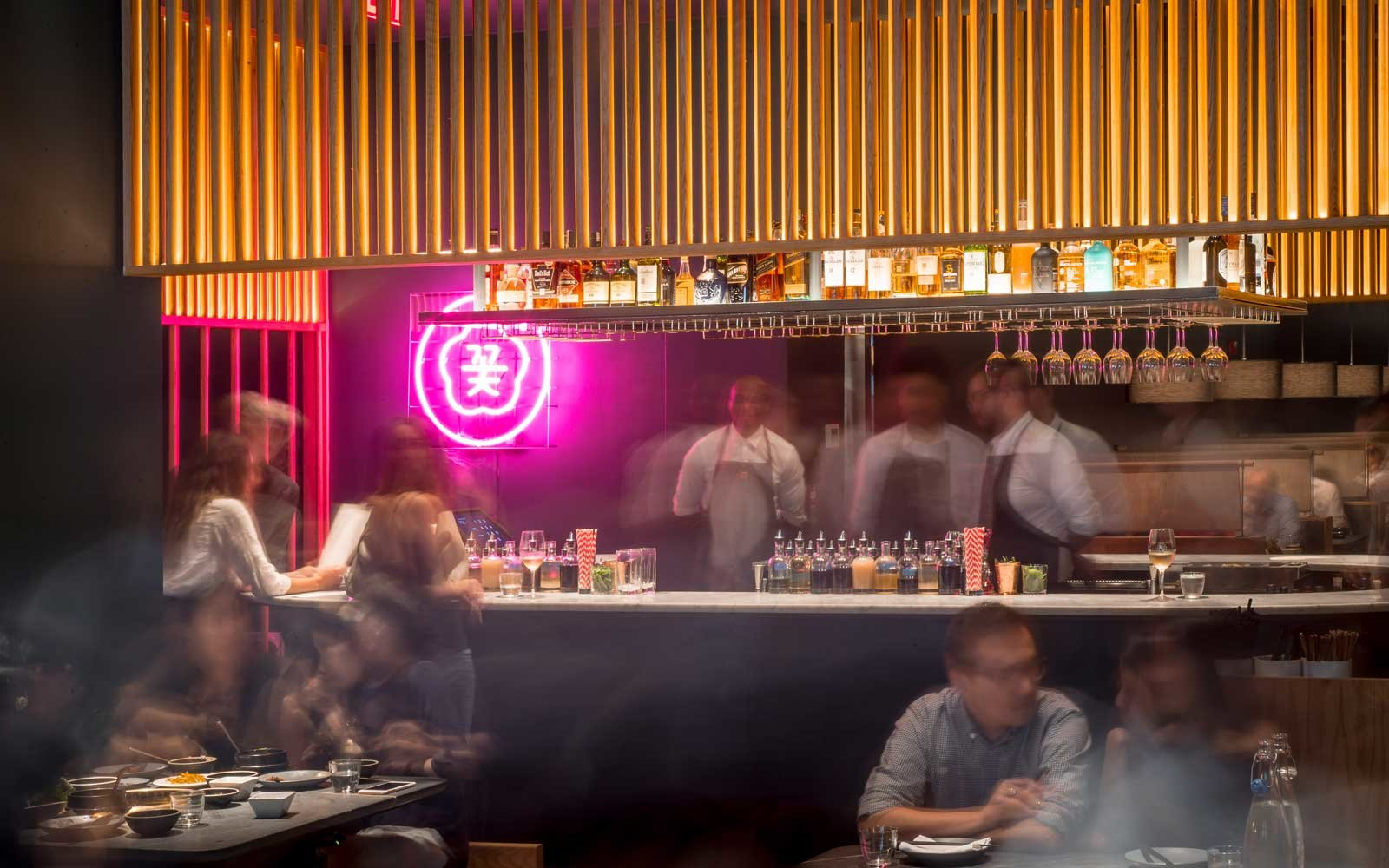 The bar at Cote, in New York.