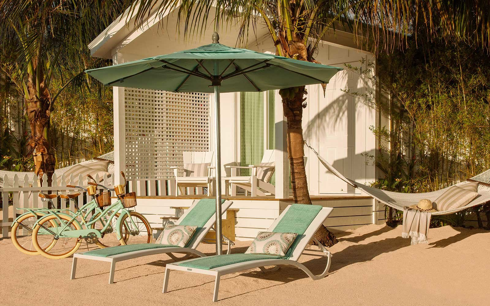Beach area at Bungalows resort in Key West, Florida