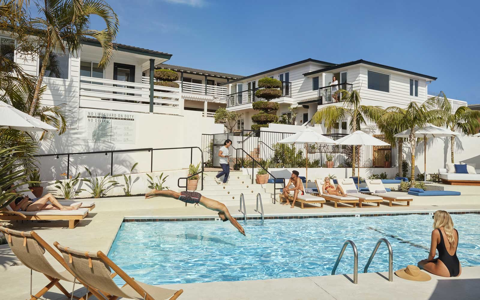 Pool scene at the Hotel Joaquin, in Laguna Beach, California