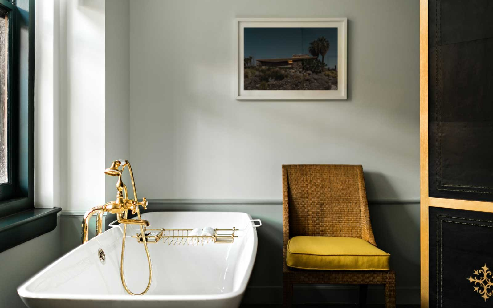 Luxury bathroom at the NoMad Hotel in Los Angeles