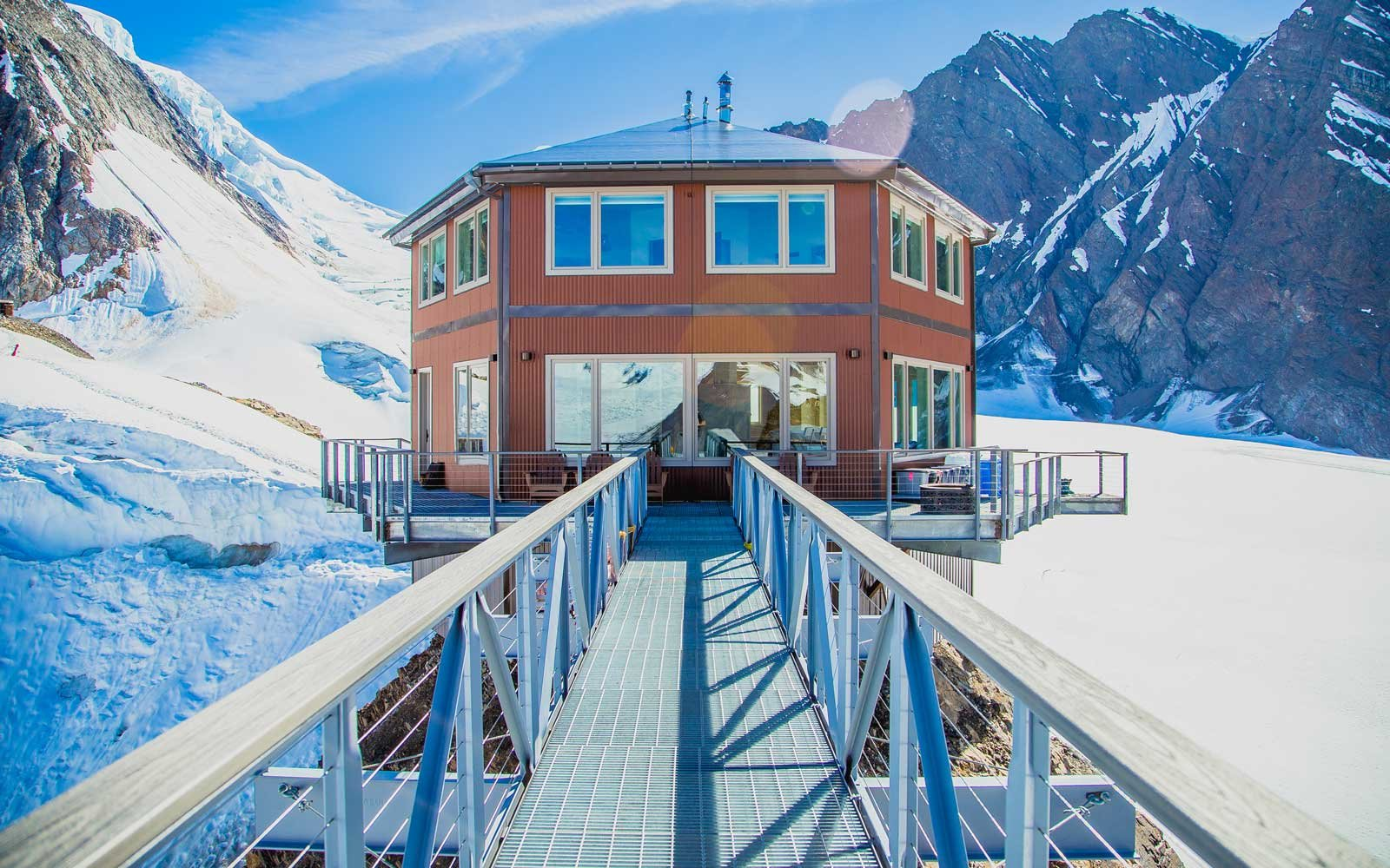 Exterior view of the remote Sheldon Chalet, in Alaska