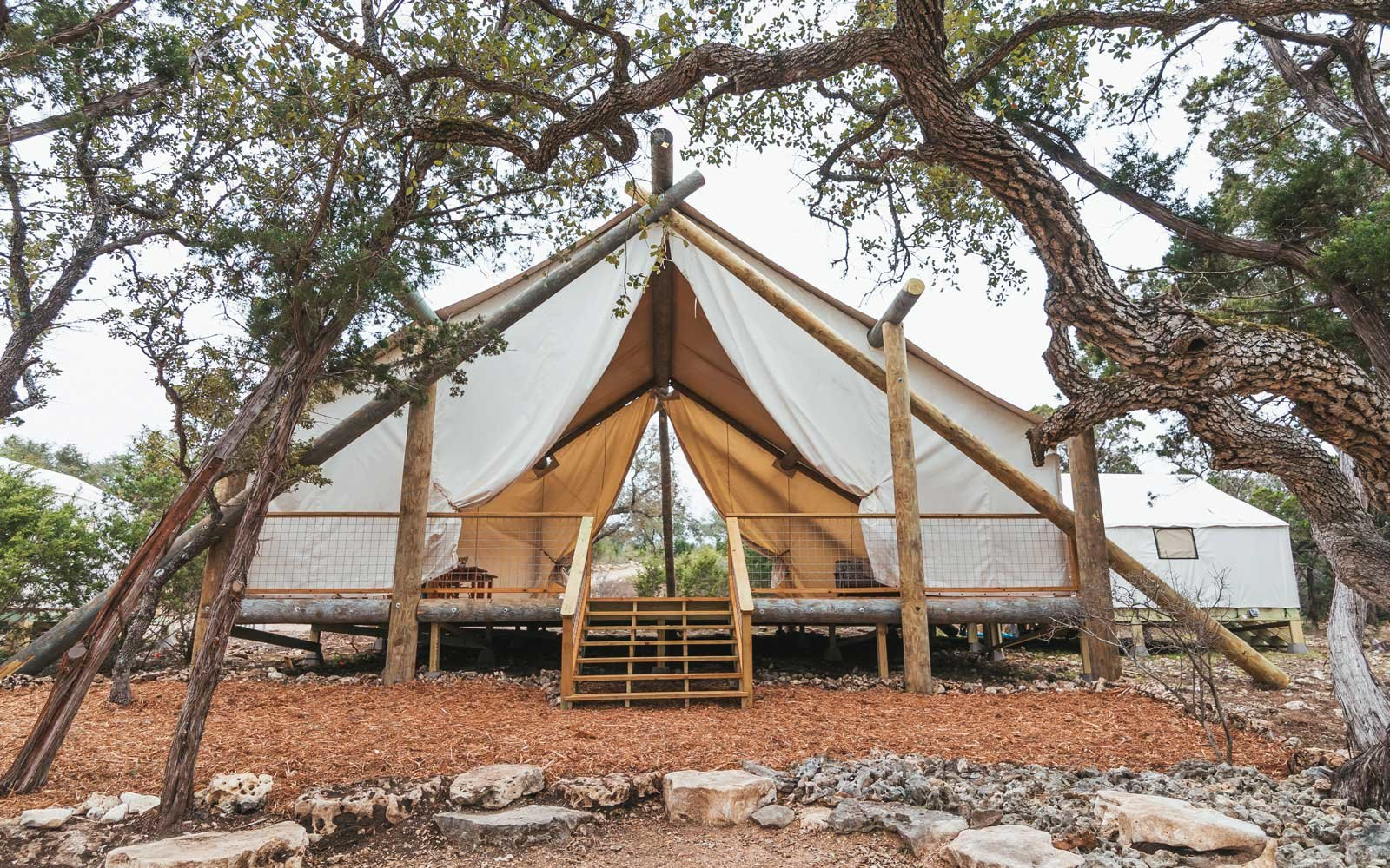 Luxury tent at the Collective Hill Country retreat in Texas