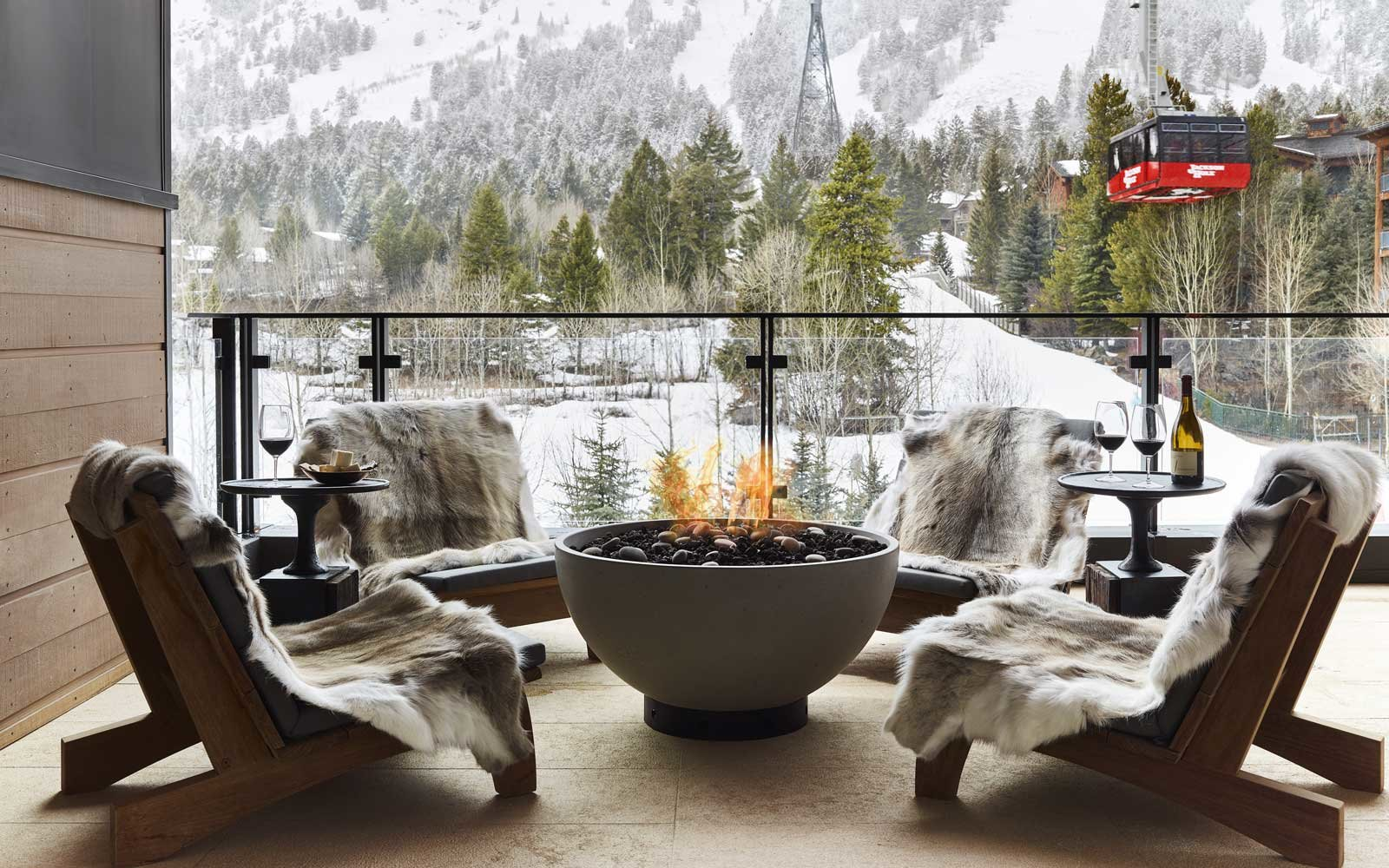 Fire pit at the Caldera House hotel in Jackson Hole, Wyoming